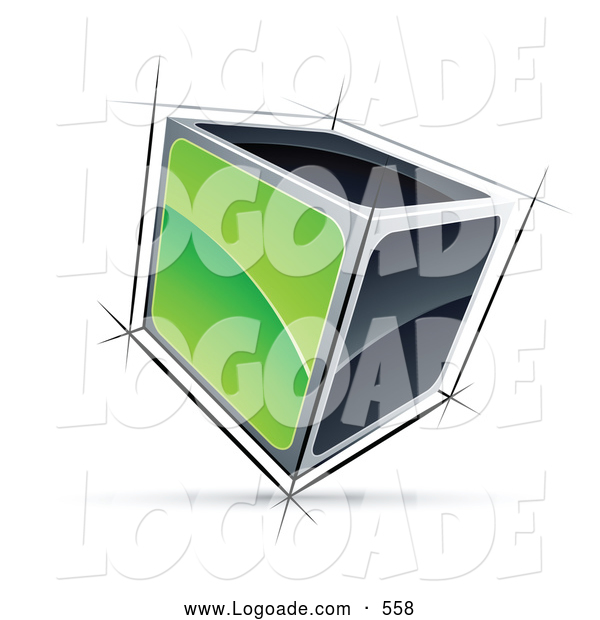 Logo of a 3d Cube with Green and Black Sides
