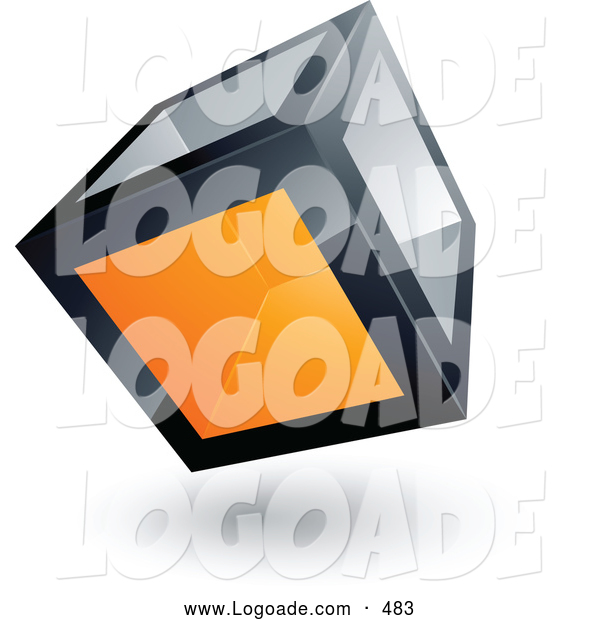 Logo of a 3d Cube with One Orange Transparent Window