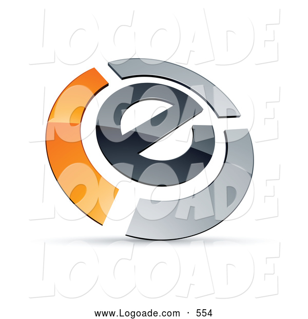 Logo of a 3d E Circled by Chrome and Orange Bars