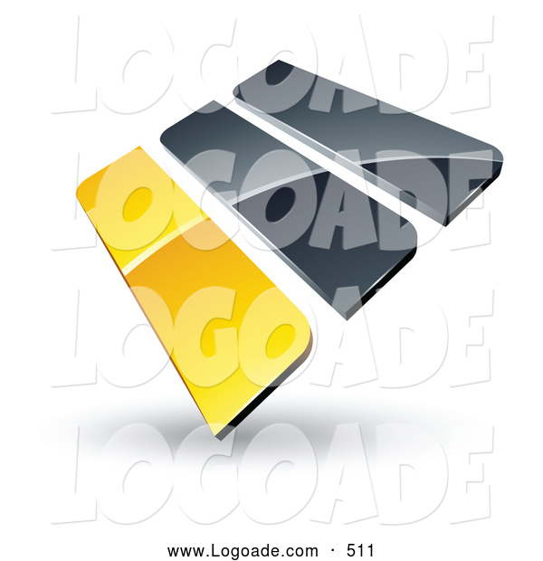 Logo of a 3d Pre-Made Logo of Yellow and Gray Bars