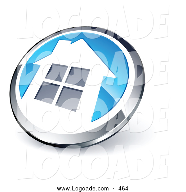 Logo of a 3d Shiny Round Chrome and Blue Home Button