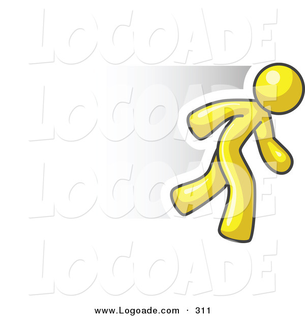 Logo of a Fast Yellow Business Man Running