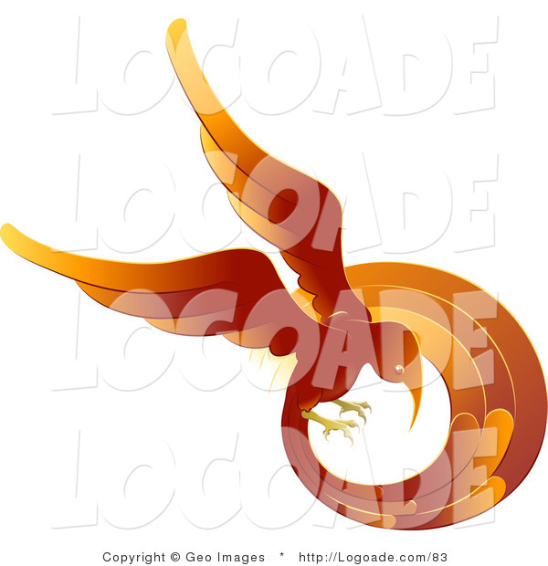 Logo of a Flaming Firey Red and Orange Phoenix Fire Bird Flying in a Circle, Symbolizing Rebirth