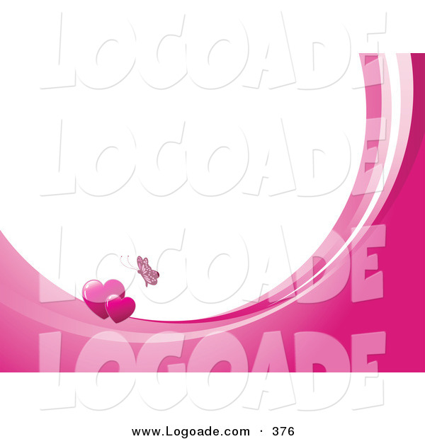 Logo of a Fluttering Pink Butterfly Above Two Hearts on Waves of Pink and White, Around White with Space for Text or a Business Name