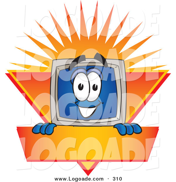 Logo of a Grinning Desktop Computer Mascot Cartoon Character Logo Showing the Monitor Smiling over an Orange and Yellow Banner Against a Sunburst