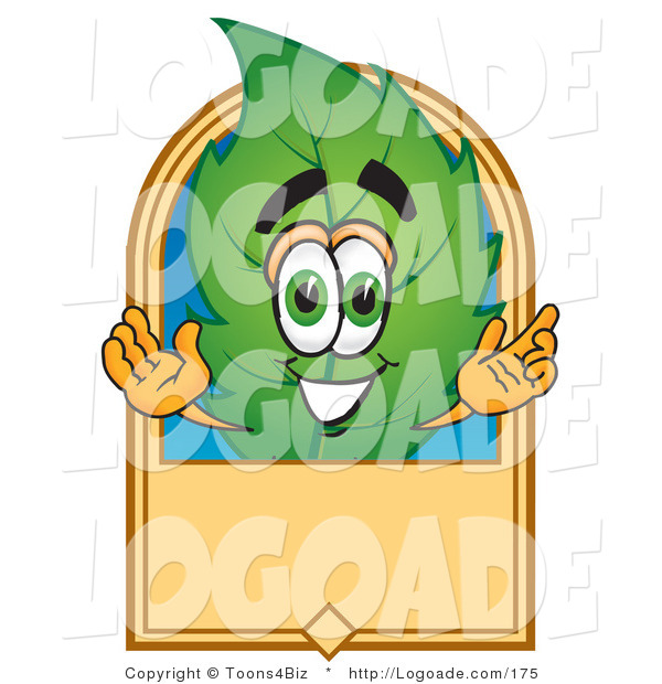 Logo of a Leaf Mascot Cartoon Character with a Blank Tan Rectangular Label