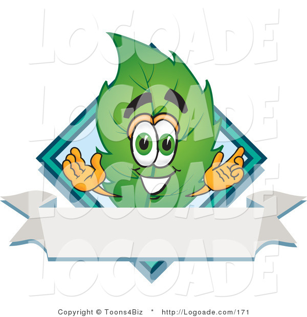 Logo of a Leaf Mascot Cartoon Character with a Blue Diamond and Blank Ribbon Label