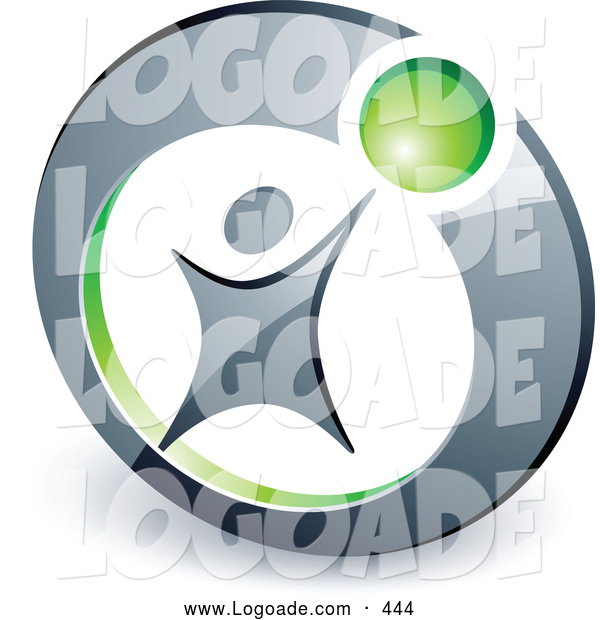 Logo of a Man Reaching up to a Green Ball in a Circle, Above Space for a Business Name and Company Slogan