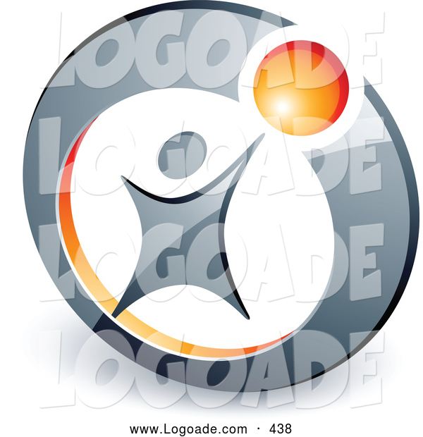 Logo of a Person Reaching up to an Orange Ball Locked in a Circle, Above Space for a Business Name and Company Slogan