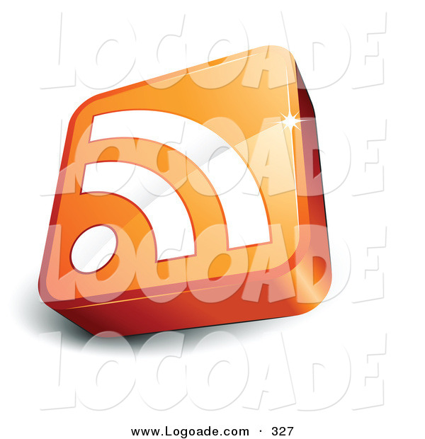 Logo of a Pre-Made Logo of an Orange and White RSS Cube over a Space for a Business Name and Company Slogan on White