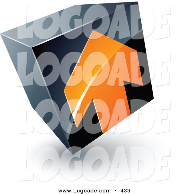 Logo of a Pre-Made Logo of an Orange Arrow Pointing up on a Tilted Black Cube, Above Space for a Business Name and Company Slogan
