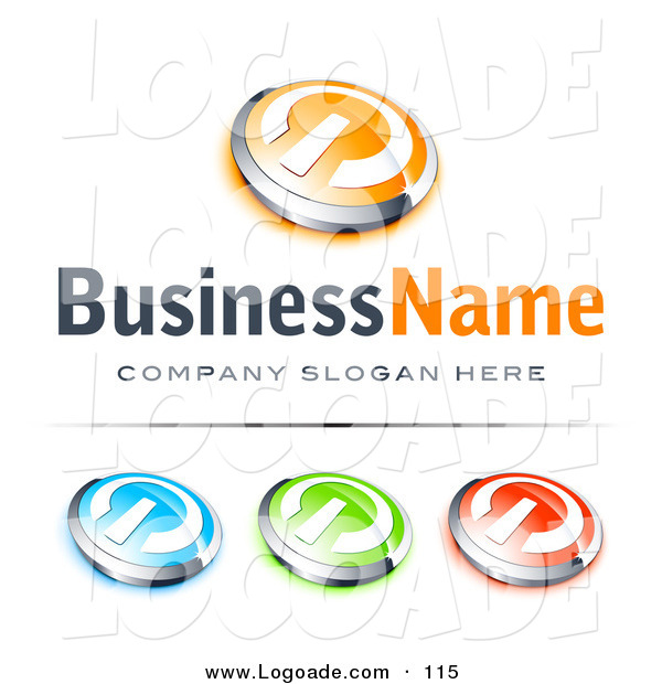 Logo of a Pre-Made Logo of Four Orange and Chrome Power Button, Blue Green and Red Buttons Also Included, with Space for a Business Name and Company Slogan Below