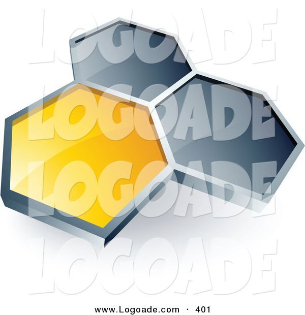 Logo of a Pre-Made Logo of One Yellow Honeycomb Connected to Two Others, Above Space for a Business Name and Company Slogan over White