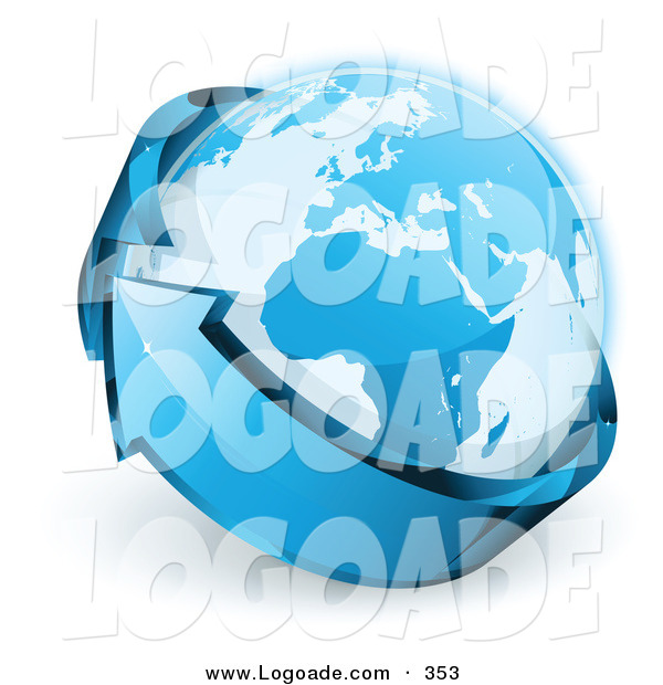Logo of a Pre-Made Logo of Planet Earth Being Wrapped a Blue Arrow Above a Space for a Business Name and Company Slogan