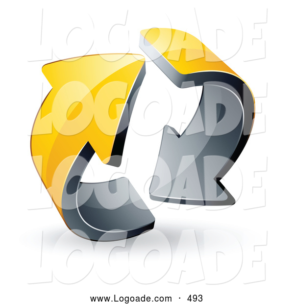 Logo of a Pre-Made Logo of Two Circling 3d Yellow Arrows
