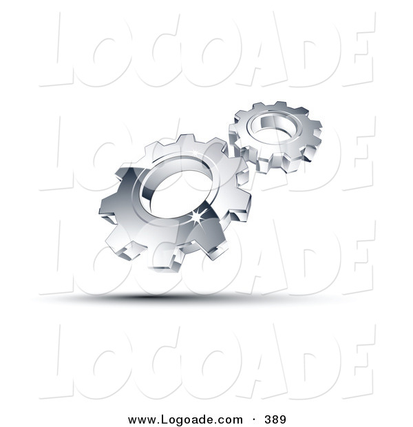 Logo of a Pre-Made Logo of Two Shiny Silver Gears Above Space for a Business Name and Company Slogan