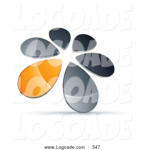 Logo of a Ring, Circle of Chrome and Orange Droplets Forming a Windmill