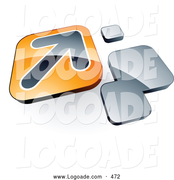 Logo of a Shiny Arrow on an Orange Box near Orange Squares