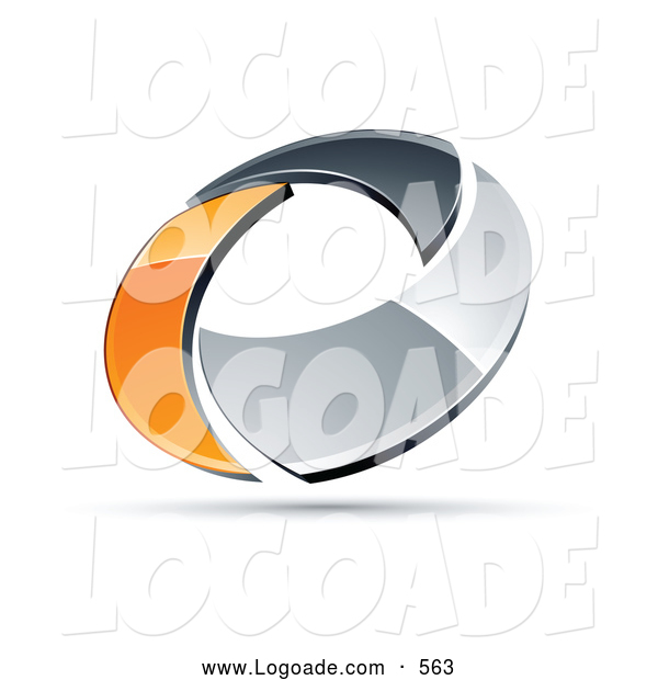 Logo of a Shiny Chrome and Orange Circling Ring