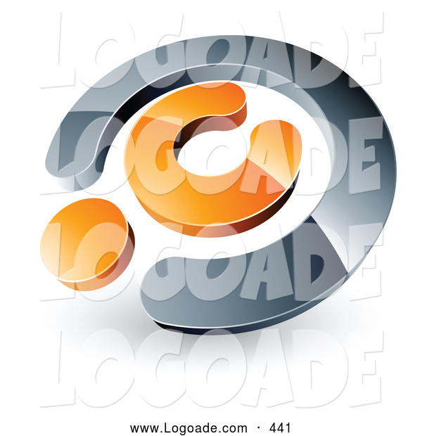 Logo of a Shiny Chrome and Orange Copyright Symbol, Above Space for a Business Name and Company Slogan