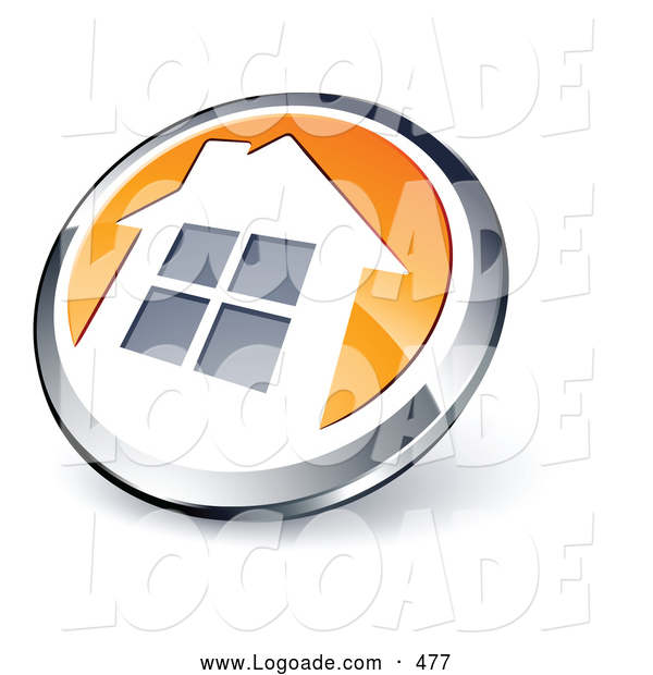 Logo of a Shiny Round Silver and Orange Home Button