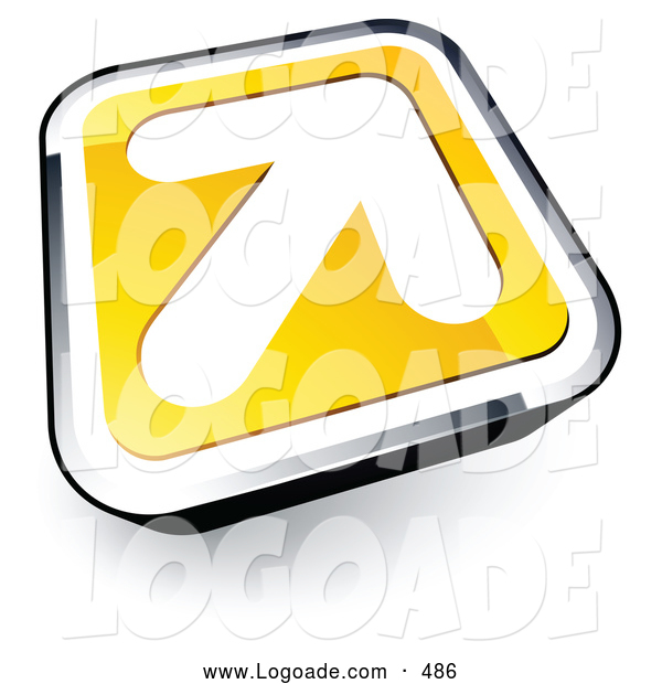 Logo of a Simple White Arrow on a Yellow and Chrome Button