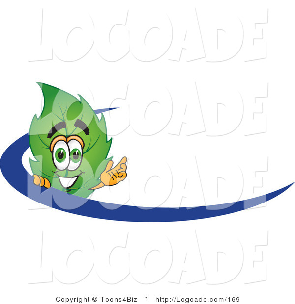 Logo of a Smiling Leaf Mascot Cartoon Character Logo with a Blue Dash