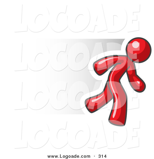 Logo of a Speedy Red Business Man Running Quickly to the Right