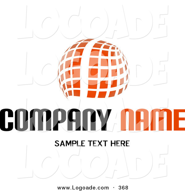 Logo of a Stock Logo of an Orange Orb Made of White Lines and Orange Squares Above a Space for a Company Name and Information