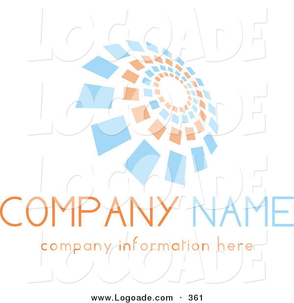 Logo of a Stock Logo of Orange and Blue Spiraling Squares Above Space for a Company Name and Information over White
