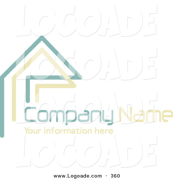 Logo of a Stock Logo of Teal and Beige Lines Resembling a Home or Roof, Above Space for a Company Name and Information on White