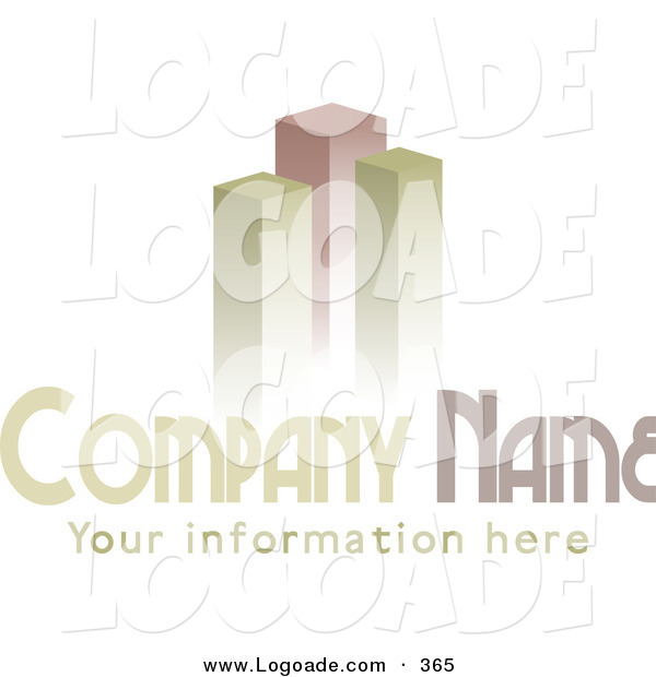 Logo of a Stock Logo of Three Green and Red Bar Graphs or Skyscrapers Above a Space for a Company Name and Information