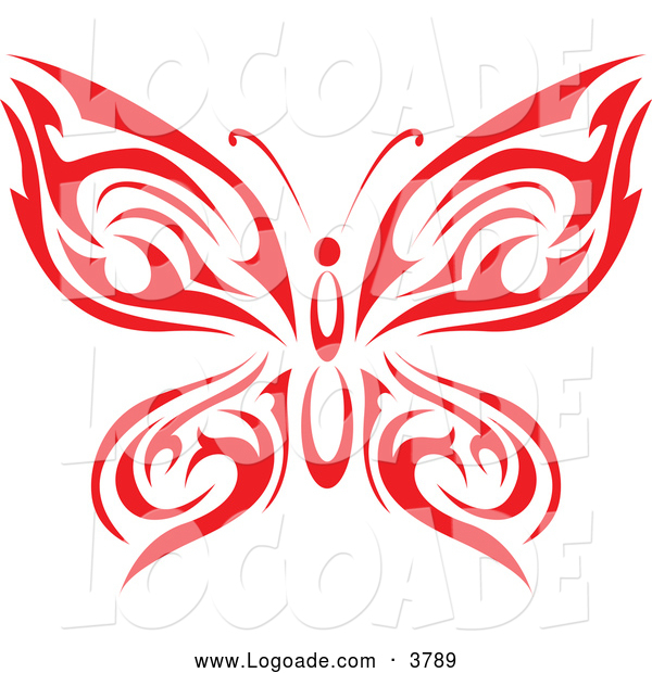 Logo of a Tribal Red Butterfly