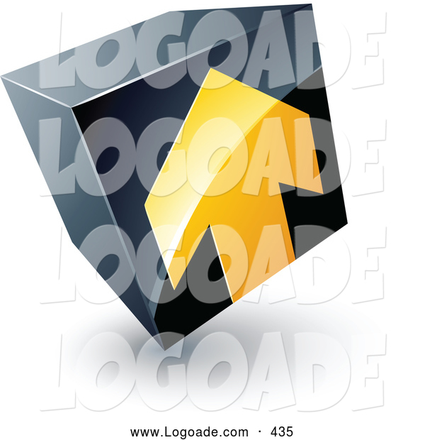 Logo of a Yellow Arrow Pointing up on a Tilted Black Cube, Above Space for a Business Name and Company Slogan