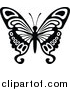 Clipart of a Black and White Flying Butterfly Logo by Dero