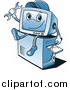 Clipart of a Blue Computer Repair Guy Character Sitting on a Tower by Vector Tradition SM