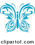 Clipart of a Blue Tribal Butterfly Logo by Vector Tradition SM