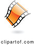 Clipart of a Floating Wavy Orange Glossy Film Strip Logo by Cidepix