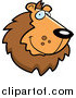 Clipart of a Handsome Smiling Lion Face Logo by Cory Thoman