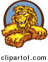 Clipart of a Logo of a Happy Lion with Crossed Arms in a Blue and Brown Circle by Chromaco