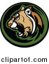Clipart of a Logo of an Aggressive Cougar Mascot Circle by Chromaco