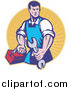 Clipart of a Retro Male Mechanic Holding a Spanner Logo by Patrimonio
