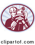 Clipart of a Retro Surveyor Using a Theodolite in an Oval of Rays by Patrimonio