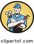 Clipart of a Retro Woodcut Male Plumber in a Yellow Rays Logo by Patrimonio