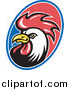 Clipart of a Rooster Oval Logo by Patrimonio