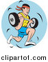 Clipart of a Strong Man Running and Carrying a Barbell Logo by Patrimonio