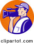 Clipart of a White Camera Man in Blue Uniform, Filming in an Orange Sun Ray Circle Logo by Patrimonio
