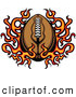 Clipart of an American Football over Hot Flames by Chromaco