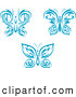 Clipart of Blue Tribal Butterfly Logos by Vector Tradition SM