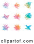 Clipart of Gradient Leaf and Bird Overlay Logos by Elena